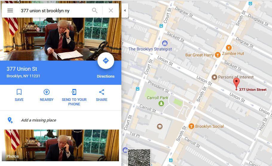 Trump hack of Google Maps