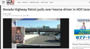 Las Vegas hearse in HOV lane